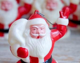 Vintage Santa Clause Christmas Ornaments, Tree Light Covers, Retro Xmas, Mid Century Christmas, Kitsch Christmas, Santa Decor, Red White