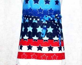 Patriotic Apron, Red, White and Blue, Fun For July 4th Picnic, Personalized With Name, No Shipping Charges, Ready To Ship TODAY, AGFT 340