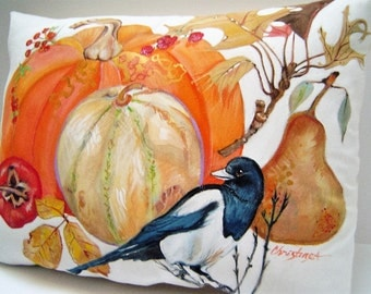 Magpie on a Fall Pillow - Hand Painted - Fall Harvest Fruit Pumpkin Squash Pear Fall Leaves 12 x 16 Elegant Fall Home Decor Accent - ART
