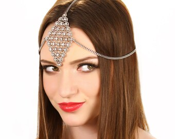Crystal Chain Headpiece / Boho Crystal Headpiece / Crystal Hair Jewelry / Kristin Perry
