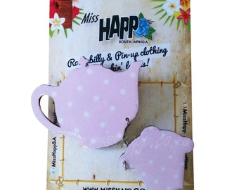 Dusty Pink Teapot & Cupcake Sweater Clip