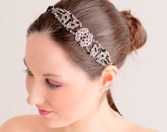 Black Headband - Black Headpiece - Silver Black Hairband - Bridal Headband - Bridal Headpiece - Wedding Headband - Antoinette
