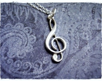 Silver Treble Clef Necklace - Sterling Silver Treble Clef Charm on a Delicate Sterling Silver Cable Chain or Charm Only