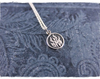 Tiny Fire Element Necklace - Sterling Silver Fire Element Charm on a Delicate Sterling Silver Cable Chain or Charm Only