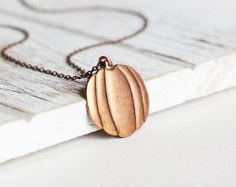 Pumpkin Necklace - Antiqued Copper Pendant Necklace, Copper Pumpkin Pendant, Simple Jewelry, Fall Necklace, Autumn Fashion Jewelry