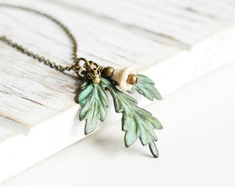 Patina Leaf Necklace - Aged Green Patina Tri Leaf Pendant Necklace with Ivory Flower on Antiqued Brass Chain, Rustic Boho Chic Jewelry