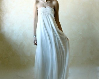 Wedding Dress, Wedding gown, Empire wedding dress, column wedding dress, boho wedding dress, lace wedding dress, silk chiffon wedding dress