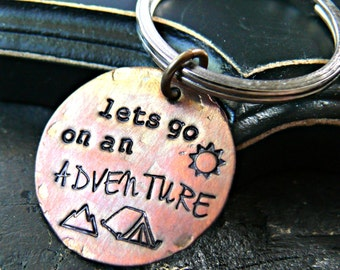 Lets Go On An Adventure - Adventure Keychain - Camping Mountains Keychain - Hand Stamped Keychain - Adventure Tent Keychain