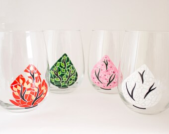 Trees of the Season Hand Painted Wine Glasses - Four Seasons Dinnerware - One of  Kind Dining - Painted Wine Charms
