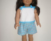 "Aqua, Red, & White Summer Pajamas fit 18"" dolls"