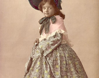 Little Girl in Wonderful EDWARDIAN DRESS and BONNET Hand Colored Photo Postcard 1908