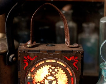 Steampunk Glowlamp. Moving planetary gear box, unisex Attach corsets or belts