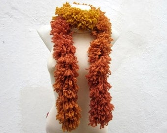 Knit Scarf, Chunky Scarf, Ruffle Scarf, Knitted Scarf, Brown Yellow