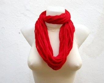 infinity Rope Scarf, Crochet Red Necklace, Chain Loop Scarves, Crocheted Circle Accessories, Women Christmas Gift, Autumn Jewellery