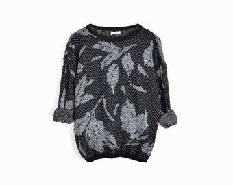 february sweater sale!! Vintage Gray Herringbone Sweater / Cozy 80s Sweater