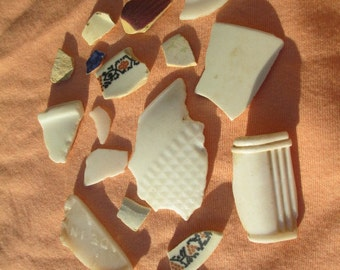 CREEK GLASS SHARDS Old Bottles Found Objects White Pottery - Tumbled Smooth Ohio River