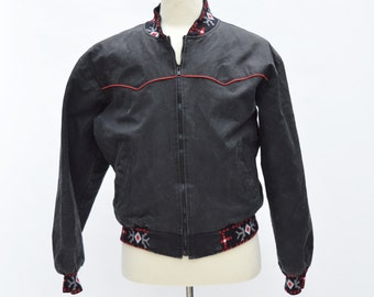 Black Red Denim Southwest Quilted Bomber Jacket 70s 80s Vintage Western Cotton Jean Jacket Men Large 42 Saddlesmith Outfitters by Action