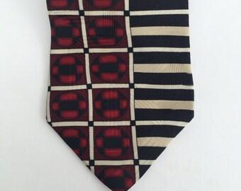 Black and Red Geometric Vintage American Made Silk Tie Zylos George Machado 80s 90s Mens Necktie