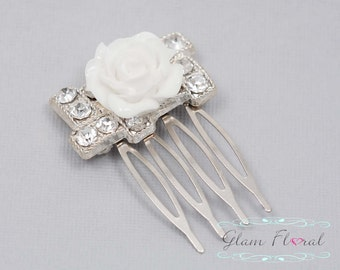 Elegant White Hair Comb,  white rose and rhinestones
