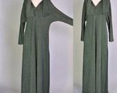 Vintage Metallic Caftan 60s Metallic Evergreen Caftan Dress Metallic Maxi Green Maxi Caftan 60s M L