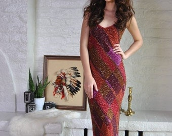 Vintage Beaded Maxi Dress Long Sequin Beaded Harlequin Sleeveless Open Back Prom Dress XS S M