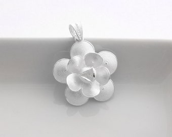1 Sterling Silver Flower Pendant - Filigree Flower Pendant - pfl015