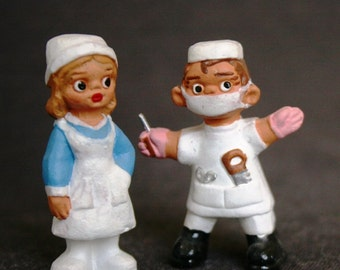 The Doctor and the Nurse. Vintage terracotta surgeon figurines. Souvenir from Spain.