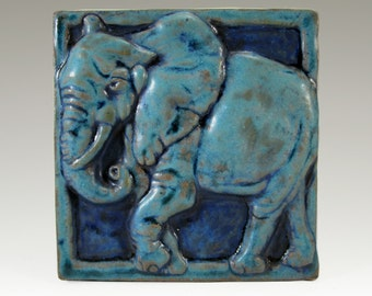 Ceramic Art Tile, ELEPHANT - Turquoise,  Wall Art, 4 x 4 Handmade Tile