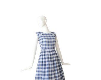 1950s Dress • 50s Plaid Day Dress • Blue Checkered • Medium M