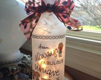 Friend Wine Bottle Lamp,friend gift,lighted bottles,lighted wine bottle,wine bottle light,wine bottle lights,wine bottle lamp,lamps,sisters