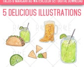 Watercolor Tacos & Margaritas Illustrations - Digital Download, Clip Art, Nachos, Mexican Food, Beer