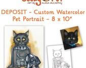 DEPOSIT - Custom watercolor cat or dog portrait as superhero or character 8 x 10