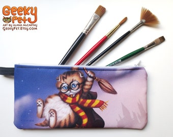 "Harry Potter Kitten zippered pencil case 9"" x 4"""