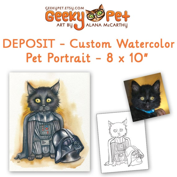 DEPOSIT - Custom watercolor cat or dog portrait as superhero or character 8 x 10