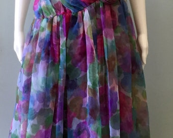 Beautiful 1980s floral pink and purple party dress
