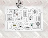 Monochrome Nursery / Game Road Map City Rug / Kids City Area Rug / Kids Play Rug / PVC Rug / Kids Decor / Kids Non Slip Mat / Toddler Room