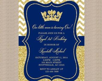Prince Birthday Party Invitation, Royal Blue Gold Birthday Invitation, Little Prince, Gold Glitter, Printable Invitation