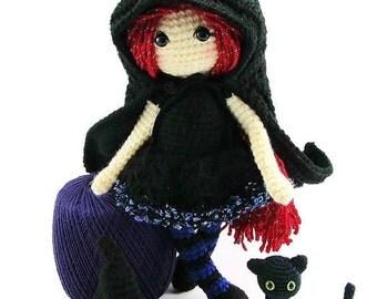 Halloween Witch Doll Crochet - Halloween Dolls - Witch Dolls - Fantasy Doll - Halloween Black Cat - Witch Toys - Toy Witch - Soft Dolls