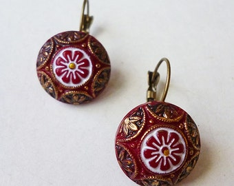 Moroccan Red // Vintage Drop earrings with Hand Painted Red Glass, 1950s Mosaic Cabachons, Antiqued Brass, Mandala Bohemian Exotic Gypsy