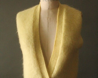 Vintage 50's Lemon Yellow Wool Knit Button Up Sweater Vest by Bobbie Brooks