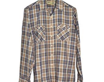 Vintage Genuine ROEBUCKS Brown Beige Blue Plaid Shirt M Medium Button Up Sears