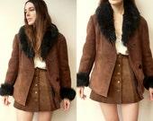 1970's Vintage Penny Lane Sheepskin Shearling Jacket Coat Size Medium