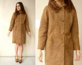 1970's Vintage Suede Princess Swing Coat With Mink Fur Collar Size Small