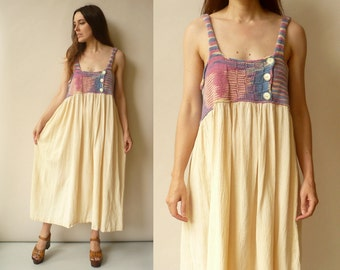 1970's Vintage Bohemian Cheesecloth & Knitted Folk Maxi Dress Size Medium