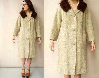 1950's Vintage Wool Princess Swing Coat With Mink Fur Collar Size M/L