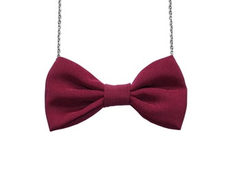 Velvet Red - Bow Tie Necklace, Women Bowtie Accessory Dark Red Burgundy, Velvet comic Con Dr Who Pretied Bow for Women