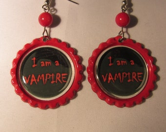 I'm A Vampire Bottlecap Earrings
