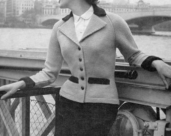 Amazing 1950s Ladies Tailored Jacket 34 Bust Patons 97 Vintage Knitting Pattern Download