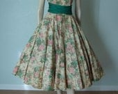 Early 1950s New Look // Floral Print Cotton Dressy Summer Party Dress // One Shoulder Style // Beads and Rhinestones // Voluminous Skirt