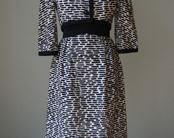 1960s Elizabeth Arden New York - Attributed to Oscar de la Renta - Animal Print Faille Dress and Jacket Set // Bold Mod Black and Cream